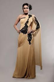 Designer Stitched Saree Beige Stitched Designer Sari