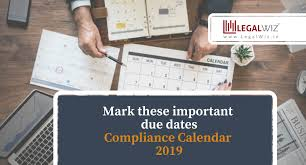 Compliance Calendar 2019 Add Compliance Due Dates To Your