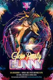 glow flyer bunny glow party free flyer template best of flyers