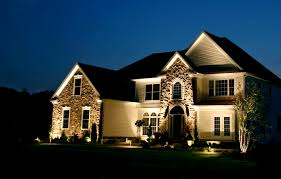 glow exterior lighting for contemporary home design with rough slate wall and dark vaulted bright outdoor lighting