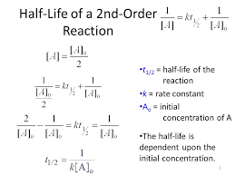 3 3 half life of a 2nd order reaction t 1 2 half life of the reaction k rate constant a o initial concentration of a the half life is dependent upon