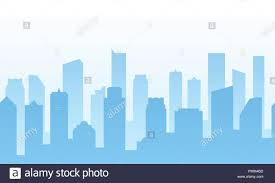 Blue Footer Design Vector Background With City For Web Site Footer Or Business