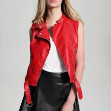 2019 2017 new fashion women red motorcycle faux leather vest jackets lady zipper sleeveless pu waistcoat gilet leather from boniee 35 18 dhgate com