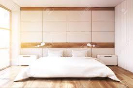 Minimalistisches Schlafzimmer Interieur Mit Einer Weißen Wand Ein