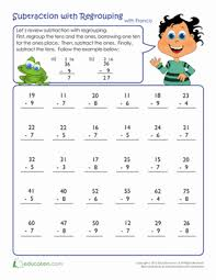 Two Digit Minus One Digit Subtraction with All Regrouping  A in addition Více než 25 nejlepších nápadů na Pinterestu na téma Regrouping likewise Math Worksheets » Regrouping Math Worksheets   Free Printable together with Mixed Addition and Subtraction of Two Digit Numbers with No in addition Addition Worksheets   Dynamically Created Addition Worksheets also Addition Worksheets   Dynamically Created Addition Worksheets together with  additionally Math Worksheet  two digit addition without regrouping   Teach together with Math Worksheets For Kids   Tiny Whiz moreover 3 Digit Subtraction Worksheets moreover Addition Worksheets No Regroup   Math Aids     Pinterest. on regrouping in math worksheets