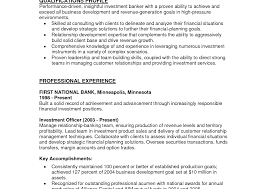 Investment Banking Resume Template Objective Examples Intern Best