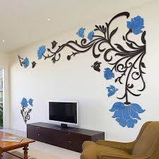 vibrant inspiration wall decor stickers small home 3d flower rattan living room art tv for bedroom