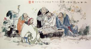 chinese people paintings five old men