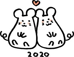 お尻をくっつけて見つめ合う2匹のねずみネズミ 鼠 かわいい2020子年