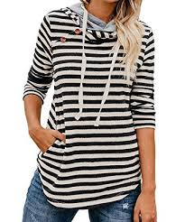 Ed Express Womens Long Sleeve Pullover Striped Drawstring