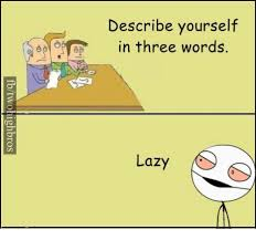 Describe Yourself In Three Words Describe Yourself In Three Words Lazy Lazy Meme On
