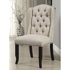 furniture of america telara linen like tufted wingback dining chair set of 2
