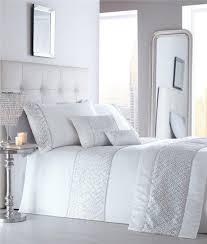 white king size luxury duvet set silver sequin diamante quilt cover bed set
