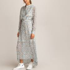 <b>Платье длинное с</b> плиссированным низом и цветочным принтом ...