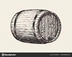 деревянные дубовые бочки вино виски паб эскиз руки Drawn винтаж