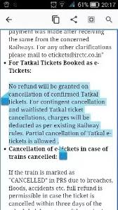 Cancellation Of Tatkal Ticket After Chart Preparation Can We Cancel Waitlisted Tatkal Tickets If So What Is The
