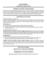 Inventory Control Resume Resume Templates