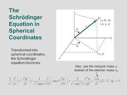 4 the schrödinger equation in spherical coordinates transformed into spherical coordinates the schrödinger equation becomes also use the reduced mass