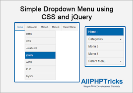 Simple Dropdown Menu Using Css And Jquery All Php Tricks