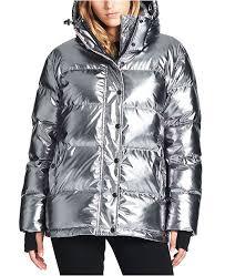 S13 Coat Size Chart Oversized Metallic Hooded Down Puffer Coat