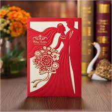 Romantic Customized Printing Wedding Invitations Red Bridal Groom