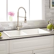 Kitchen Sinks Granite Composite 34 Sabelle 60 40 Offset Double Bowl Drop In Granite Composite