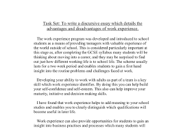 to write a discursive essay which details the advantages and  document image preview