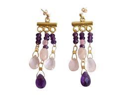 gemshine chandelier earrings 14k gold plated purple amethyst rose quartz faceted teardrop