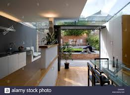 Terrace Kitchen Garden View From Open Plan Kitchen And Diner To Garden In Modern