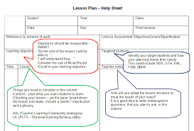 Blank Lesson Plan Template And Support Sheet For