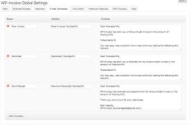 Email Invoices WPInvoice Settings E Mail Templates Tab WPInvoice Usability 24
