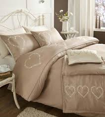 beige shabby chic hearts bedding duvet cover set or runner or cushion
