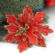 cheap christmas decor:  new arrival pcs lot cm red glitter artificial christmas flowers poinsettia cheap christmas ornaments