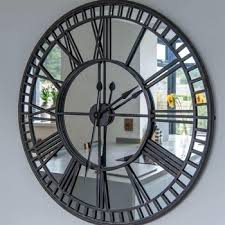 iron mirrored large luxury wall clock