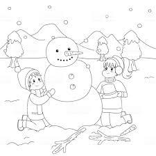 Happy Kids Bouw Een Sneeuwpop Kleurplaat Pagina Cartoon Vector