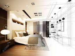 Skizze Abstrakte Gestaltung Von Innen Schlafzimmer 3d Rendering