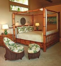 Bamboo canopy bedroom furniture with table lamps | Home Interiors