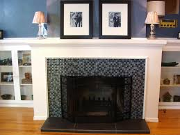 dark tile over brick fireplace