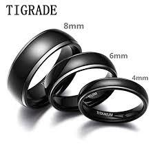 <b>TIGRADE 8mm</b> 6mm 4mm Titanium <b>Rings</b> Black Dome High ...