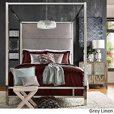 Inspire Q Evie Chrome Metal Canopy Bed with Linen Panel adboard by Bold King Grey King