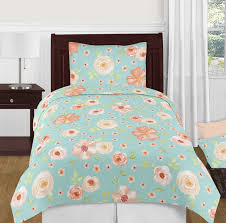 turquoise and peach shabby chic watercolor fl girl twin kid childrens bedding comforter set by sweet jojo designs 4 pieces pink rose flower only