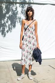 Slip dress and Converse.