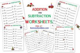 Addition - Subtraction FREE Christmas Math Worksheets - Homeschool Den