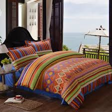rust orange navy and yellow modern aztec stripe print diamond pattern unique moroccan style 100 cotton damask full queen size bedding sets