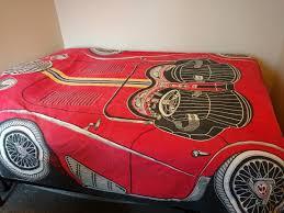 vintage car bedspread spreadmobile spitfire retro 1960s bedding red 9s home design crib twin designs5 76y