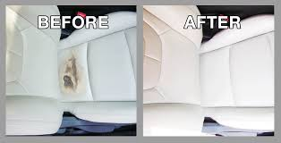repair of car seat from chemical damage premier leather restoration before and after client results