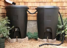 daisy chained rain barrels