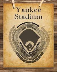 Yankee Stadium Baseball Seating Chart 11x14 Unframed Art Print Great Sports Bar Decor And Gift Under 15 For Baseball Fans
