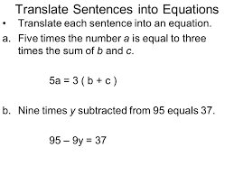 3 translate sentences into equations