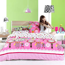 little girl queen size bedding red pink and white retro night owl print wild animal themed